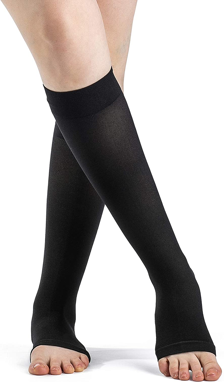 Limited time sale SIGVARIS Women's DYNAVEN Open Calf-High 20-30mmHg Socks Toe Translated