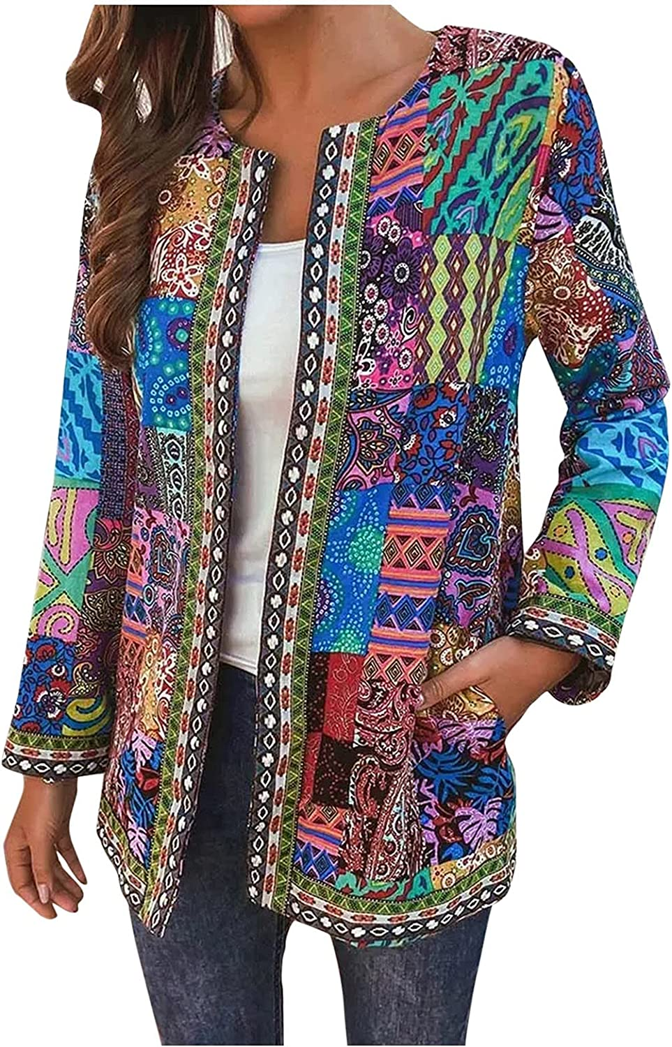 Women's Leisure Printing Coat Fall Loose Bohemian Cotton Linen Round Neck Open Front Jacket