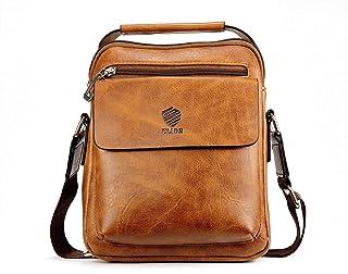 Elios Tan Brown PU Leather Front Pocket Designer Large Capacity Multi-Utility Crossbody Travel Work Wear Messenger Bag For...