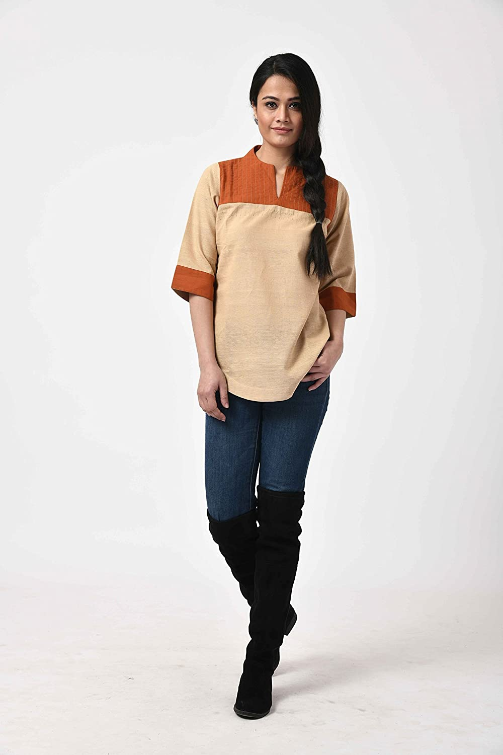 Quality inspection Beige-Rust Cotton 1 year warranty Tunic