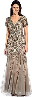 Adrianna Papell Women's Cap Sleeve Beaded Evening Gown