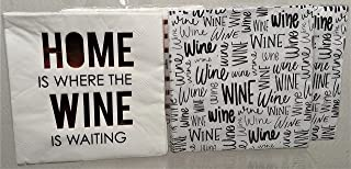 """Wine Themed 3 Ply Party White Paper Napkins 9.75"""" Square 4 Packages 40 Total Count"""