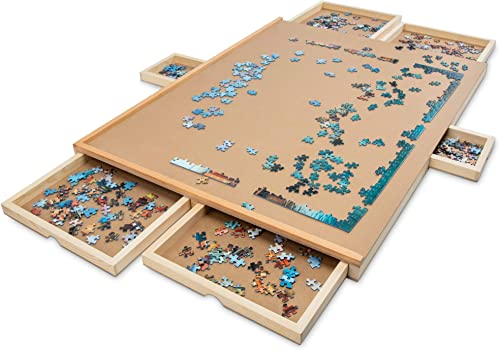 """lowest SkyMall 1500 Piece Puzzle Board   new arrival Premium Wooden Jigsaw Puzzle Table with 6 Magnetic Removable Storage & Sorting Drawers   27""""x35"""" Smooth 2021 Plateau Work Surface & Reinforced Hardwood Construction sale"""