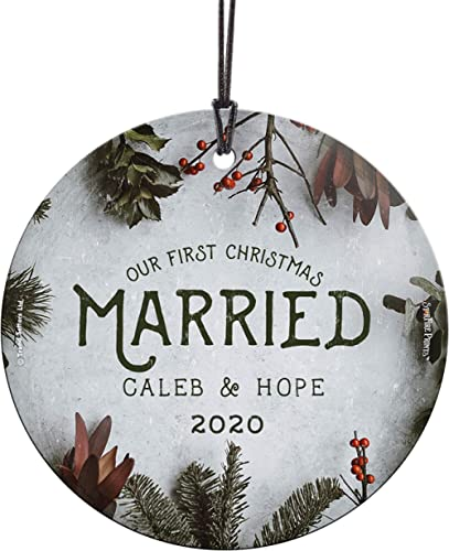 Our First Christmas Ornament – Married Personalized – Cranberries and Evergreen – Suncatcher Hanging Print Christmas ...