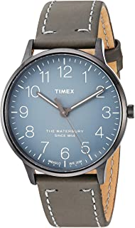 Timex Unisex TW2P96000 Waterbury Classic 40mm Steel Grey Leather Strap Watch
