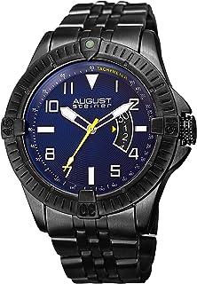 August Steiner Men's Multifunction Tachymeter Watch -around Textured Monochrome Dial + Bonus Date Window and Second Hand o...