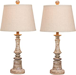 Cory Martin W-6240CABG-2PK Fangio Lighting's #6240CABG-2PK Pair of 26.5 in. Distressed Candlestick Resin Table Lamps in a Cottage Antique Beige Finish, 2 Piece