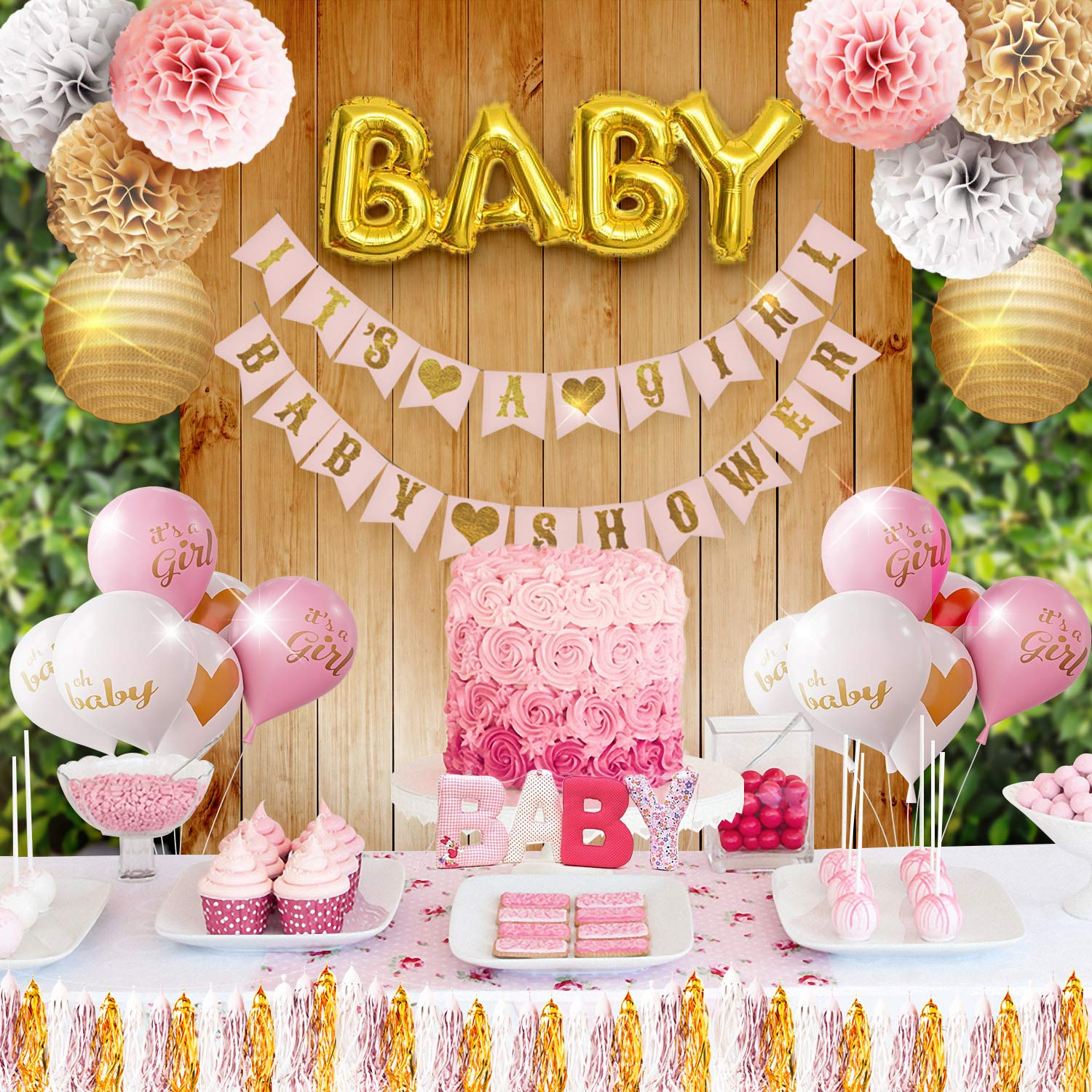 Girl Baby Shower Party Decorations Pink, White and Gold Theme Decor Set  with Banners, Balloons, Poms, Lanterns, Tassels and Sash (7 Pieces)