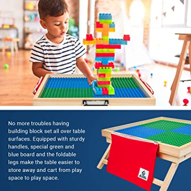 El Toro Creative Large Foldable Building Block Table with Storage for 3 Plus Children – Wooden Lightweight Kids Activity Tabl