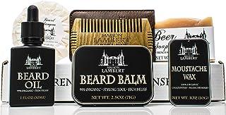 Maison Lambert Ultimate Beard Kit: Organic Beard Balm, Organic Beard Oil, Organic Beard Shampoo, Organic Mustache Wax, Sandalwood Beard Comb and a Body Soap.Perfect Fathers Day Gifts!