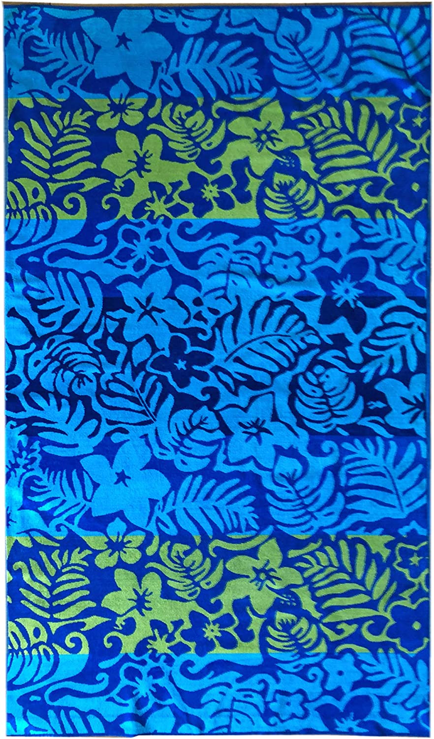 Thick and Plush Jacquard Beach Towel Espalma Over Sized Luxury Beach Towel Blue Luau Floral Large Size 70 Inch x 40 Inch Soft Velour and Reversible Absorbent Cotton Terry