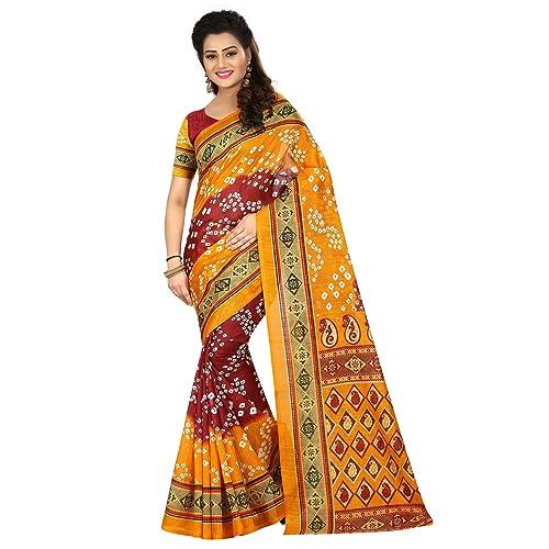b40b947d1c9 Shonaya Women s Party Wear Bandhani Bhaglpuri Art Silk Printed Saree Sari  (Yellow   Red)
