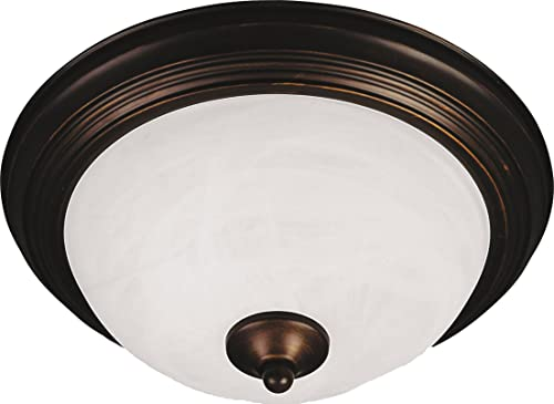 """2021 Maxim 5842MROI Essentials Round Marble Glass Flush Mount, high quality 3-Light 180 Total Watts, 6""""H x discount 16""""W, Oil Rubbed Bronze online sale"""