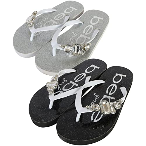 c0ea6110315 bebe Girls 2 Pack Flip Flop Rhinestone Glitter EVA Sandals (Little Kid Big  Kid