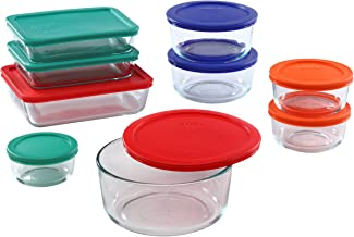 Pyrex Meal Prep Simply Store Glass Rectangular and Round Food Container Set, 18-Piece, Multicolored
