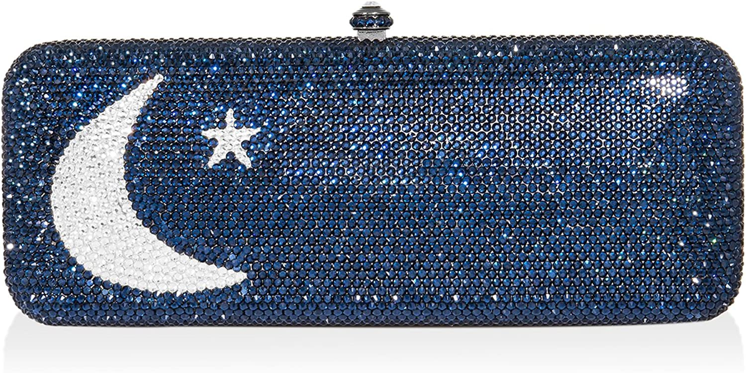 Dolli purplec Rectangle Crystal Clutch
