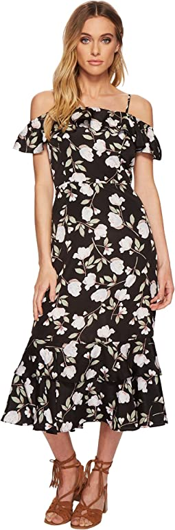 J.O.A. Floral Printed Cold Shoulder Dress with Tiered Hem
