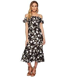 Floral Printed Cold Shoulder Dress with Tiered Hem