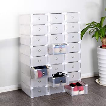 24 Boîtes à chaussures transparent MEUBLE A CHAUSSURES