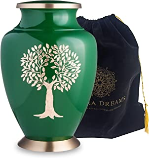 Adera Dreams Tree of Eternity Adult Cremation Urn for Human Ashes - Green and Gold Large Funeral Urn with Velvet Pouch - Full Size Burial Urn for Cremains