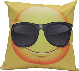 "HGOD DESIGNS Cute Cartoon Emoji Wear Sunglasses Face Emoticon Pillowcase 18""x 18"" Soft Square Fashion Emoji Face Pillow Cover Two Sides Home Decorative Best Gift For Lovers Families Friends"
