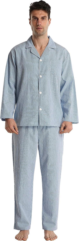 Cotton Pajamas for Men Summer Soft Comfy Long Sleeve Buffalo Plain Woven PJ Set Lounge Top Pants Sleepwear Broadcloth