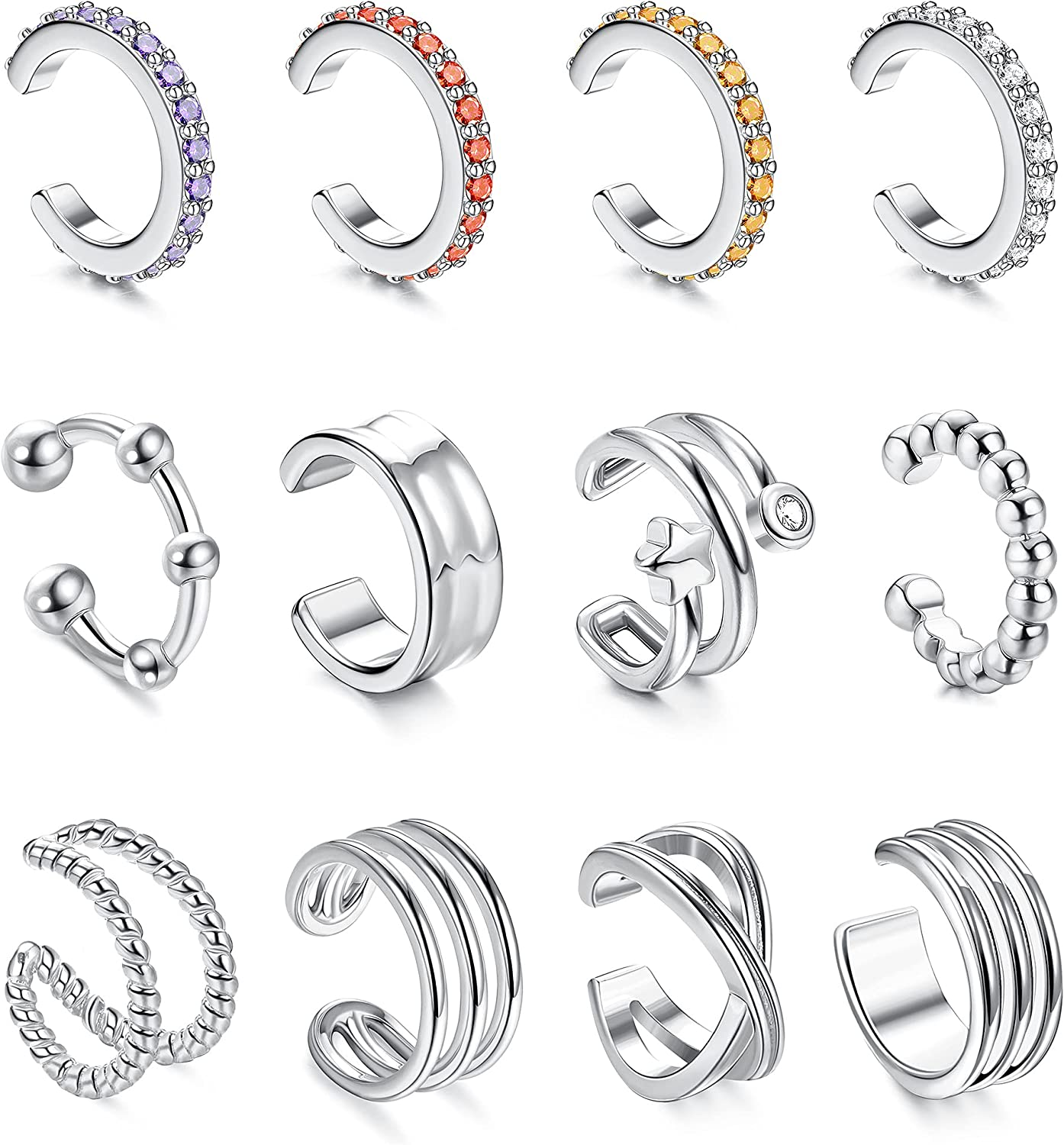 Jstyle 12Pcs Adjustable Sparkling Sale item Cash special price Ear Cuffs Non-Pier Dainty Gold