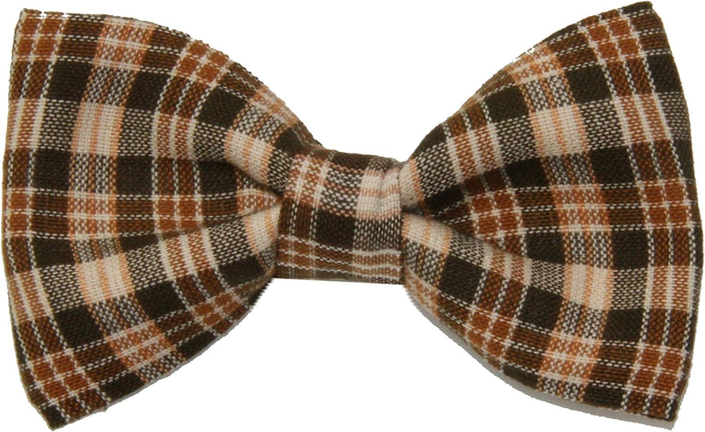 Boys Children's Brown / Tan Plaid Clip On Cotton Bow Tie