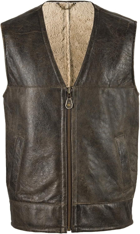 Bushga Mens Luxury Full Sheepskin Leather Brown Gilet/Body Warmer. Sizes 38