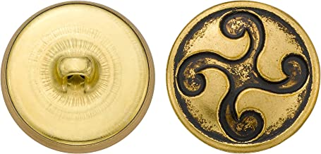 product image for C&C Metal Products 5335 Design Metal Button, Size 36 Ligne, Antique Gold, 36-Pack