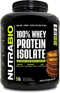 NutraBio 100% Whey Protein Isolate (Chocolate Peanut Butter, 5 Pounds)