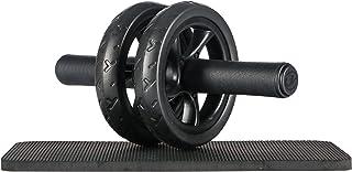 Ultrasport AB Wheel Aparato de entrenamiento y ayuda para bajar de peso, con rueda doble y superficie de apoyo para las rodillas, Unisex Adulto, Negro, OS