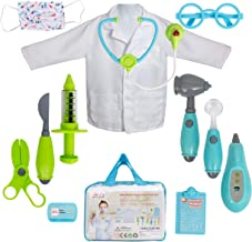 Next Milestones 12pcs Fun Educational Doctor Medical Kit Toys for Kids Doctor Costume and Tools Battery Operated Stethoscope Heart Beat Sound Otoscope with Light for Boys Girls Age 3 4 5 6 7 Year Old