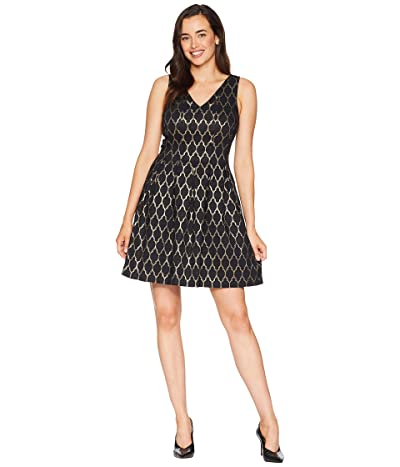 Vince Camuto Jacquard Double V Fit and Flare (Black/Gold) Women