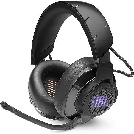 JBL Quantum 600 Auriculares inalámbricos para gamers con diseño llamativo, tecnología de virtualización surround y reproducción DTS, con micrófono y RGB, compatible con PC y consola, color negro