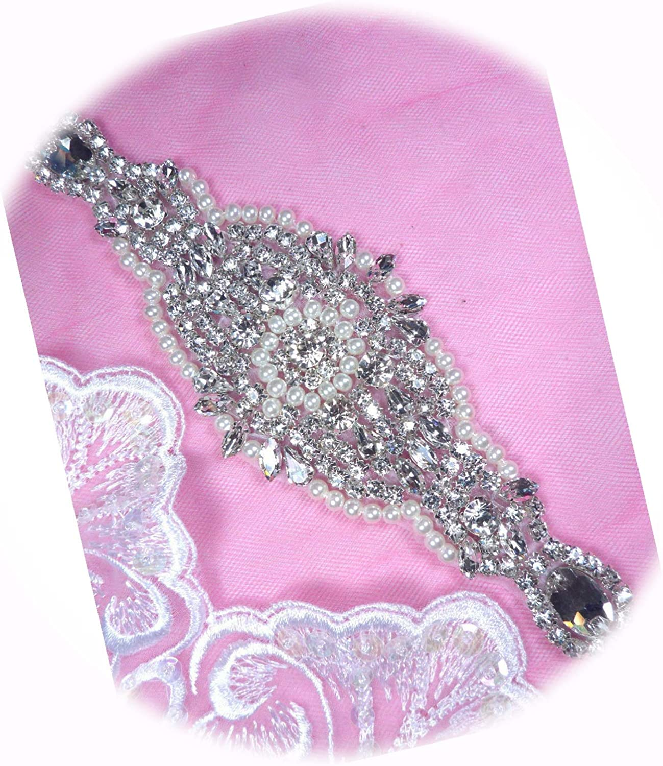 Pearl Gifts Applique Crystal Clear Rhinestone Patch for Per Your 7.75