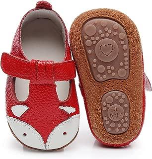 HONGTEYA Baby Boys Girls Fox Mary Jane Sandals Moccasins Shoes Rubber Sole Crib Toddler Leather Prewalker