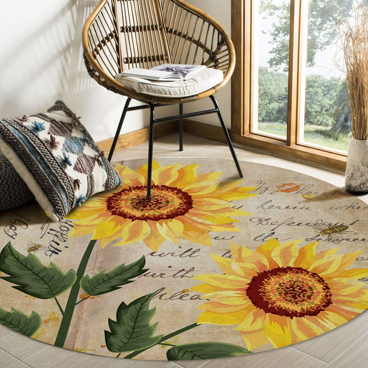 Olivefox Round Area Rugs Retro Style Bee Letter Tulsa Limited time trial price Mall Ba Sunflower and