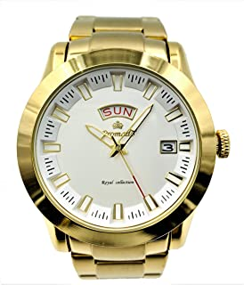 Men's 18K Gold Plated Classic Luxury Watch with Bolt Style Dial Date & Day with Luminous Hands.