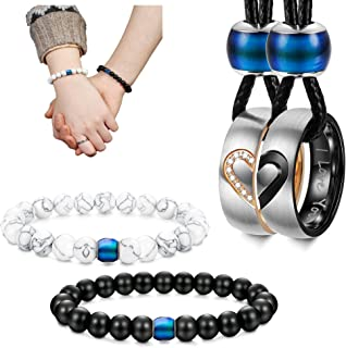 LOYALLOOK 4Pcs Couples Distance Necklace Bracelets Set for Women Men Heart Matching Rings Pendant 8mm Mood Beads Braclact for Lovers Valentine Gifts