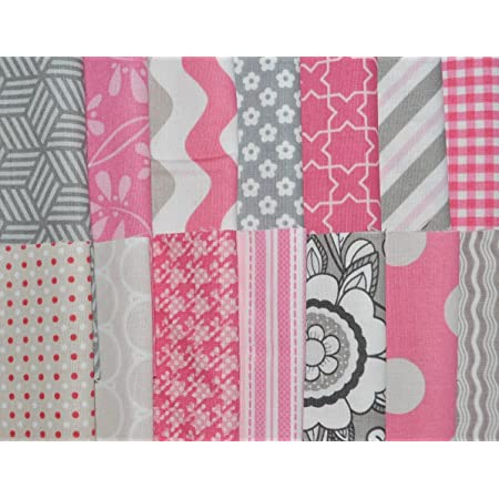 100/% Cotton Designer Fabric 5 Squares Charm Pack 56 pcs Lime Green and Pink