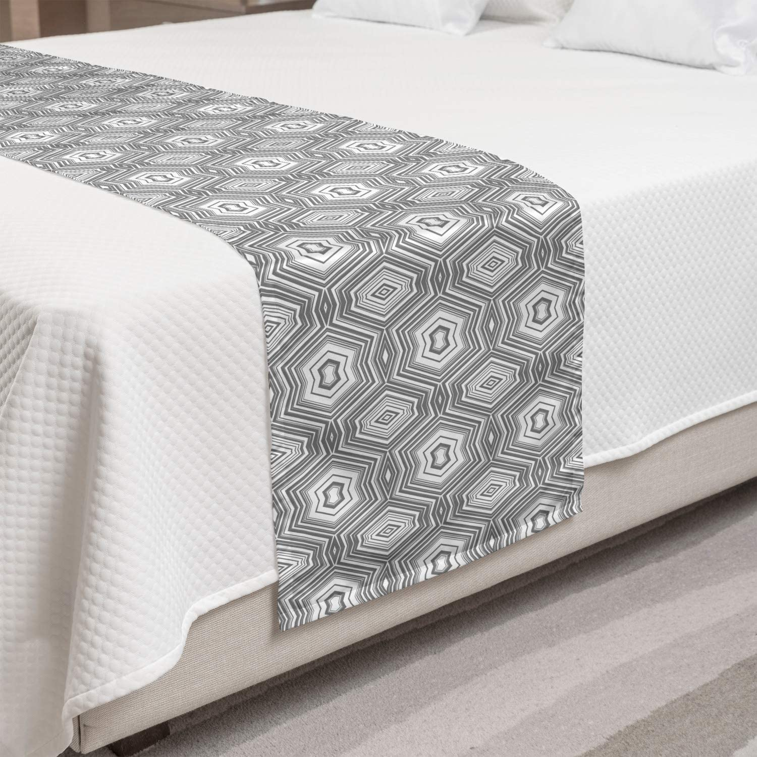 Ambesonne Grey Limited time trial price and White Bed with Bargain sale Abstract Runner Lots Pattern