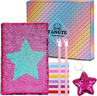 YANGTE Sequin Notebook - Mermaid Reversible Sequin Journal,A5 Notepad Travel Diary Notebook Gift for Adults and Kids,Girl Birthday Present