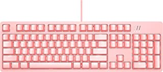 Ajazz DKM150 Mechanical Gaming Keyboard with Red Switches, DOUYU White Backlit USB Gaming Keyboard with Magnetic Suction Panel, 104 Keys Pink
