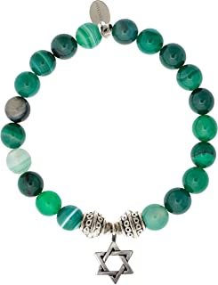 EvaDane Natural Green Stripe Jade Gemstone Tibetan Bead Star of David Charm Stretch Bracelet