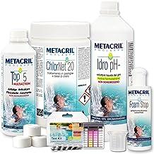 Metacril Easy Kit de cloro para hidromasajes y piscinas. Tratamiento completo a base de cloro en pastillas de 20 g.