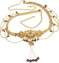 Total Fashion Gold Plated Traditional Multi Pearl Kamarband/Tagdi for Girls & Women