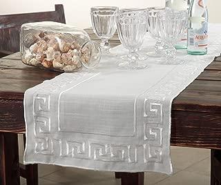 Fennco Styles Greek Key Embroidered Design Table Runner - Ivory - 16