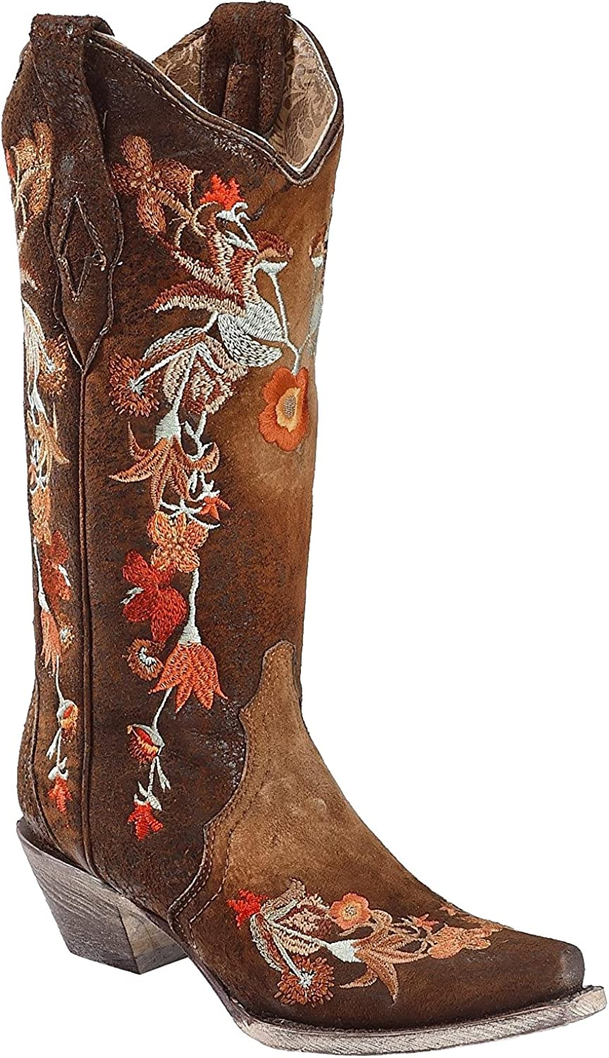 CORRAL Women's Lindsey Floral Embroidery Leather Cowgirl Boots - Chocolate