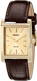 Men's SUP896 Gold-Tone and Brown Leather Solar-Power Dress Watch